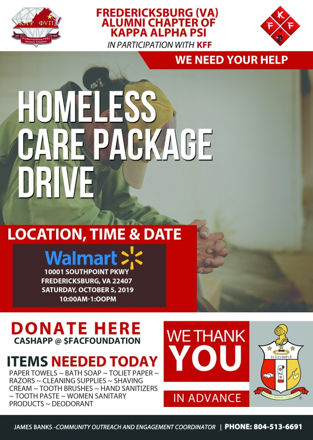 HOMELESS CARE PACKAGE DRIVE